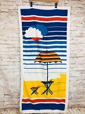 NOS Vintage MCM Mod 60/70s Beach Towel Umbrella Table Drink Novelty Print Terry