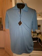 Nwt $89 Bobby Jones Teal Blue White H20 Polyester Striped Polo Shirt M Medium