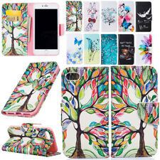 For Apple iPhone 5 5s SE 6 7 Plus Patterned Strap Flip Leather Wallet Stand Case