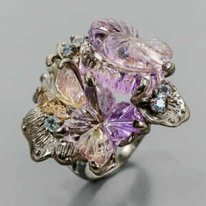 Carving ring 50 ct+ gems Ametrine Ring Silver 925 Sterling  Size 8.5 /R165334