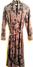 LINEA DOMANI Black/Gray Floral Print Ray/Spdx Belted Shawl Collar Dress SIZE 10