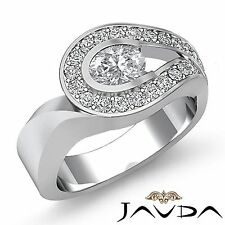 Halo Pave Set Oval Diamond Unique Engagement Ring GIA H VS1 18k White Gold 2ct