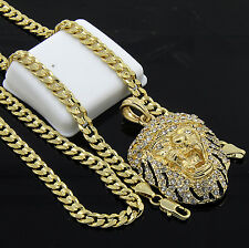 Mens Gold Plated Hip-Hop Iced Tiger Face Pendant 24