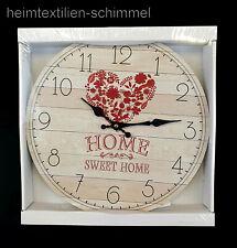 Italienische Wanduhr Uhr Wanddekoration HERZ Küchenuhr Holzoptik HOME Deko 33cm