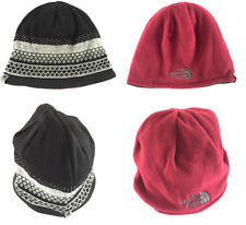 The North Face Reversible Beanie Hat Burgundy Red Black Warm One Size Pattern