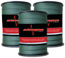 Electric Fence Fencing 3 x 200m x 20mm ShockRite Green Tape 600m