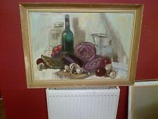 2Oth c,English School Oil on Board. Still Life Study of Jars,and Vegetables.