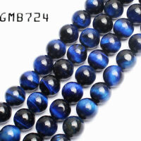 "Natural Gemstone Blue Tiger Eye Stone Beads Strand 15"" Wholesale Loose Beads"