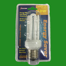 2x 18W (=100W) Low Energy Power Saving CFL Stick Light Bulbs E27 Screw ES Lamps