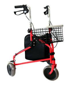 Lightweight 14lbs Folding 3 Wheels Walker, Rollator with Tray Basket & Bag (Red)
