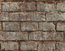 Wallpaper Designer Rustic Brick Wall Red Taupe and Black