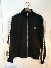 Fred Perry Mens Black Track Top Jacket Full Zip Size XXL