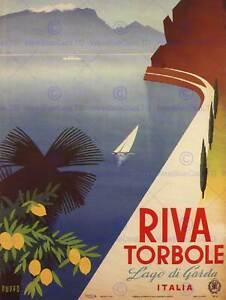 TRAVEL TOURISM RIVA TORBOLE LAKE GARDA ITALY POSTER ART PRINT 30X40 CM BB2866B