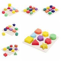 Baby Kids Montessori Early Education Wooden Learning Toy Geometry Block Puzzle A