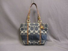 Auth COACH Signature striped denim tote 11179 Navy Gray Brown Jacquard & Leather