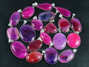 100 PCs Natural Pink Crackle Agate Gemstone Silver Plated Bezel Pendants Jewelry