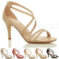 Mujeres medio tacón alto tiras cruzado boda paseo sandalias zapatos talla