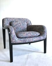 +4 Bill Stephens Knoll Lounge Chair Black Lacquer Mid Century Post Modern 80s
