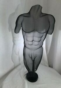 "Randy Cooper Shadow Sculpture,  Mesh Metal Art, Male Nude Torso, ""Jaimee"" Signed"