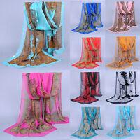 Women Vintage Scarves Wraps Ladies Chiffon Silk Scarf Long Soft Shawl Pashmina