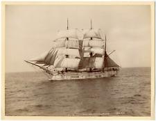 France, Trois-mâts barque au plus près, vue générale de bâbord, marine Française