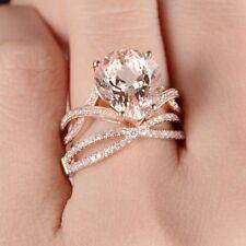 Delicated 3Ct Pear Cut Morganite Bridal Set Engagement Ring 18K Rose Gold Finish