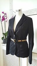 MNG Mango Black Cotton  Fitted ladies Blazer Jacket Size 38 10