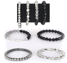"4 Set Bracelets Silver Plated Black Beaded Rhinetones Fashion Jewelry 3"" New"