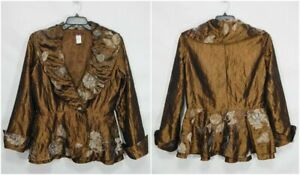 DESIGN TODAYS WOMENS CARDIGAN JACKET LARGE L EMBROIDERED PEPLUM TOP ART TO WEAR