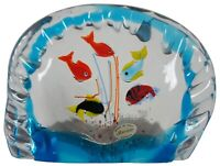 Original Murano Hand Blown Italian Art Glass Aquarium Fish Bowl Paperweight 8""