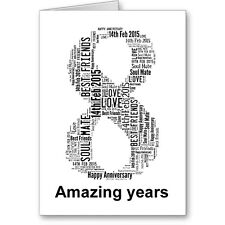 Personalised Printed Typographic Eighth/ 8th Anniversary Card/ Gift Male/Female