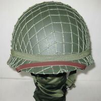 Collectable Metal Replica WWII WW2 US Army M1 Helmet with Net Canvas Chin Strap