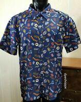 MLB SAN DIEGO PADRES Logo Blue Aloha Shirt Adult SGA Button Front Shirt Sz M
