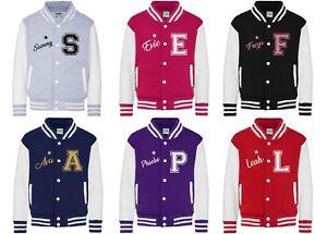 Kids Personalised Varsity Jacket - Customised Printed Football Baseball Glitter