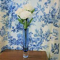 Handcrafted Mouthblown Glass Bud Vase Blue Made Poland International Krosno