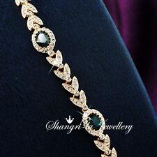 18K GOLD GF Green EMERALD Wedding Party BRACELET with Swarovski CRYSTAL L351-E