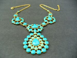 Chunky Shades of Turquoise Blue Plastic Cab CHOKER NECKLACE
