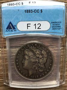 1893 CC Carson City ANACS Morgan Silver Dollar F12 Coin Free Shipping 1893CC