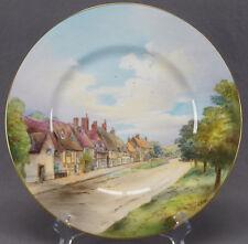 Rare Minton Hand Painted Arthur Holland Village Scene Plate Circa 1950s - 1960s