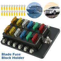 12 Way Blade Fuse Box Block Holder LED Warning Light ATC 12V/24V Car Marine OZ