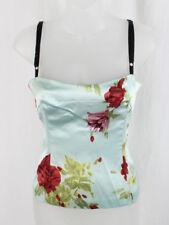 Dolce & Gabbana Blue Red Green Floral Sleeveless Built In Bustier Shirt Top 40 6