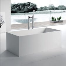 Free Standing Solid Surface Stone Modern Soaking Bathtub 67 x 28 inch - SW-122L