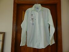 New listing Doodle Collection womens M mint green shirt top Birdhouses, Ivy L/S Button Front