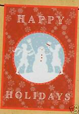 Winter Christmas Happy Holidays Snowman and People Mini Garden Flag