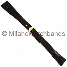 13mm Hirsch Reptile Genuine Teju Lizard Unstitched Flat Brown Ladies Watchband