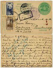 TURKEY SMYRNE to JAVA 1915 CENSORED UPRATED STATIONERY NEI CONSUL GENERAL HS