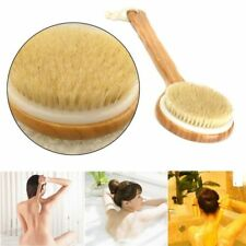 Shower Long Back Brush Wooden Handle Bath Rub Soft Hair Wood Neck Sauna Sponge