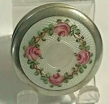 Vintage Signed Wells Pink Rose White Enamel Sterling Silver Pill Trinket Box