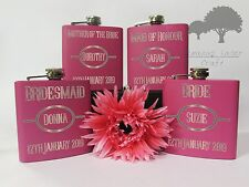 Personalised Engraved 6oz Pink Hip Flask.bridesmaid wedding gift Box phf11