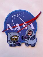 SPONGEBOB SQUARE PANTS - NASA SPACE MORALE COLLECTIBLE - IRON ON SEW PATCH 3.5""